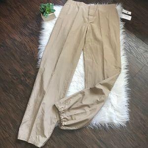 NWT Helmut Lang Beige Bonded Silk Wide Leg Pants